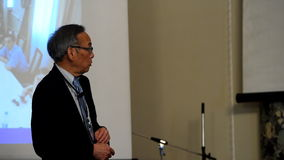 Plenary thesis of Nobel Prize Laureate in physics Steven Chu stock video footage