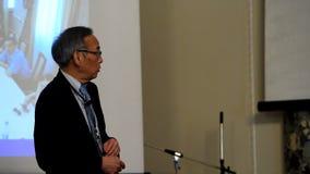 Plenary thesis of Nobel Prize Laureate in physics Steven Chu. St. Petersburg, Russia - June 22, 2015: Plenary thesis of Nobel Prize Laureate in physics Steven