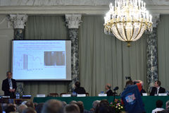 Plenary thesis of Nobel Prize Laureate in physics Steven Chu. St. Petersburg, Russia - June 22, 2015: Plenary thesis of Nobel Prize Laureate in physics Steven Stock Photos