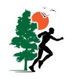 Plenerowa bieg śladu biegacza natury loga ilustracja Zdjęcia Stock