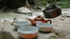 Plenerowa herbaciana ceremonia, herbaciana ceremonia rzeką zbiory wideo