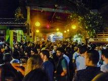 Plenerowa Partyjna noc w Pipa Brazylia Zdjęcia Royalty Free