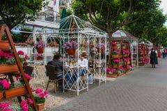 Plenerowa restauracja i kawiarnia pod gazebos w Boppard, Niemcy Zdjęcia Royalty Free