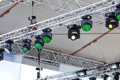 Plenerowa scena z światłami reflektorów Zdjęcia Royalty Free
