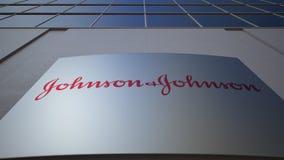 Plenerowa signage deska z Johnson ` s logem zbudować nowoczesnego urzędu Redakcyjny 3D rendering Fotografia Stock