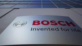 Plenerowa signage deska z Robert Bosch GmbH logem zbudować nowoczesnego urzędu Redakcyjny 3D rendering Obrazy Royalty Free