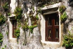 Plenerowa stara ściana z starej rocznik stajni drewnianymi okno z detai Obraz Stock