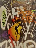 Plenerowa sztuka i graffitis w ulicie Barcelona, Hiszpania zdjęcia stock