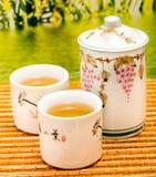 Plenerowa zielona herbata Wskazuje przerwy Breaktime I czas obraz stock