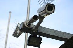 Plenerowe inwigilacji kamery, teren publiczny, inwigilacja stan zdjęcie stock