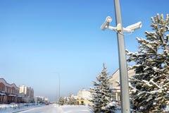 Plenerowe kamery bezpieczeństwa przy ulicą Zdjęcia Stock