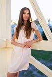 Plenerowego moda portreta splendoru zmysłowa młoda elegancka kobieta, jest ubranym delikatnej lato sukni stroju brunetki dziewczy Obraz Royalty Free
