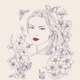 plenerowego portret kobiety piękne young Sakura kwiatów okwitnięcie Romantyczna damy dziewczyna Ilustracji