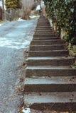 Plenerowi schodki w perspektywie Schody tło Betonowy schody przy grodzką ulicą piękne zdjęcie parku bardzo schody obrazy stock