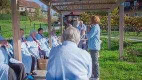 Plenerowy ćwiczenie dla starszych mieszkanów zbiory