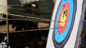 Plenerowy cel dla strzelać z łękiem i strzała, dla łuczniczych strzała na letnim dniu w parku, Łuczniczy cel zbiory