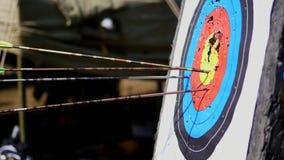 Plenerowy cel dla strzelać z łękiem i strzała, dla łuczniczych strzała na letnim dniu w parku, Łuczniczy cel zbiory wideo
