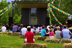 Plenerowy kino w parku Fotografia Royalty Free
