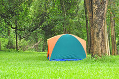 Plenerowy namiot, lasowy camsite Zdjęcia Royalty Free