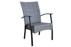 Plenerowy Poli- Rattan Łomota krzesła Odizolowywającego Na Białym tle Zdjęcie Stock