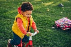 Plenerowy portret śliczna mała berbeć chłopiec Zdjęcia Royalty Free