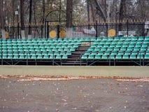 Plenerowy teatr w parku w spadku po pierwszy opadu śniegu Fotografia Stock
