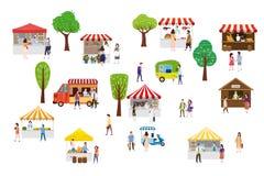 Plenerowy uliczny karmowy festiwal z malutkimi ludźmi chodzi między samochodami dostawczymi lub organizator przyjęć, baldachim, k ilustracja wektor