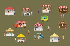 Plenerowy uliczny karmowy festiwal z malutkimi lud?mi chodzi mi?dzy samochodami dostawczymi lub organizator przyj??, baldachim, k ilustracji