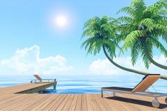 Plenerowy utrzymanie na wakacje, nadmorski taras z lounger Zdjęcie Royalty Free