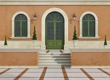 Plenerowy wejście klasyczna willa ilustracja wektor