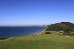 Pleneuf Val Andre golf course, Bretagne, France. Wiev from the hole number 10, in the background, the Channel sea and the cape of Erquy Royalty Free Stock Photo