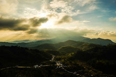 Plentiful mountain. The fertile hills covered with trees and sky Royalty Free Stock Image
