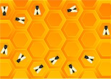 Plenty of bees. On a honey background Stock Images