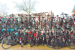 Plenty bicycles at parking lot in,Bicycles in The Netherlands, a Stock Photography