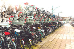 Plenty bicycles at parking lot in,Bicycles in The Netherlands, a Stock Photos