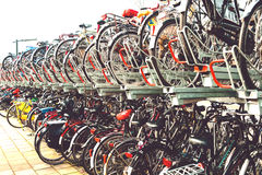 Plenty bicycles at parking lot in,Bicycles in The Netherlands, a Royalty Free Stock Photo