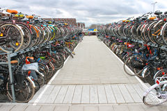 Plenty bicycles at parking lot  in Delft, Netherlands Royalty Free Stock Photo