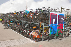 Plenty bicycles at parking lot  in Delft, Netherlands Royalty Free Stock Images