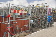 Plenty bicycles at parking lot  in Delft, Netherlands Royalty Free Stock Photography