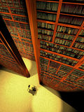 Plenty of books. Gigantic library full of books. At its bottom,  a man is reading, sat at a lonely table Stock Images