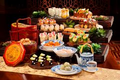 Plenty of cake and tea for mid autumn festival in asia. Deliciously Stock Photos