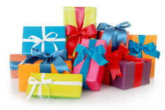 Plenty Colored Presents Isolated on White. Plenty Assorted Colored Presents for Birthdays or Christmas Isolated on White Background Royalty Free Stock Images