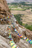 Plenty of colorful Buddhist prayer flags on the Stupa Royalty Free Stock Images