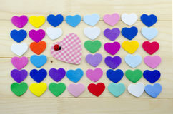 Plenty of colorful hearts on a desk Royalty Free Stock Photo
