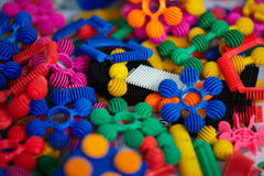 Plenty of colorful plastic parts of the designer Royalty Free Stock Photography