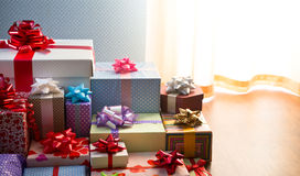 Plenty of colorful presents Stock Images