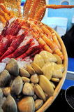 Plenty of delicious seafood are displayed beautifully at a localseafood market in Hong Kong Stock Images