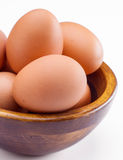 Plenty of eggs in wooden bowl Royalty Free Stock Photography