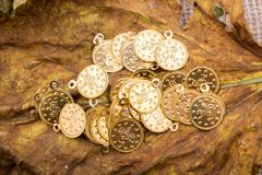 Plenty of fake gold coins are in the view royalty free stock photos