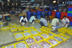 Plenty of fisheries in baskets are waiting for purchasing at the Binh Dien wholesale night seafood market, the biggest one in Ho C Royalty Free Stock Images